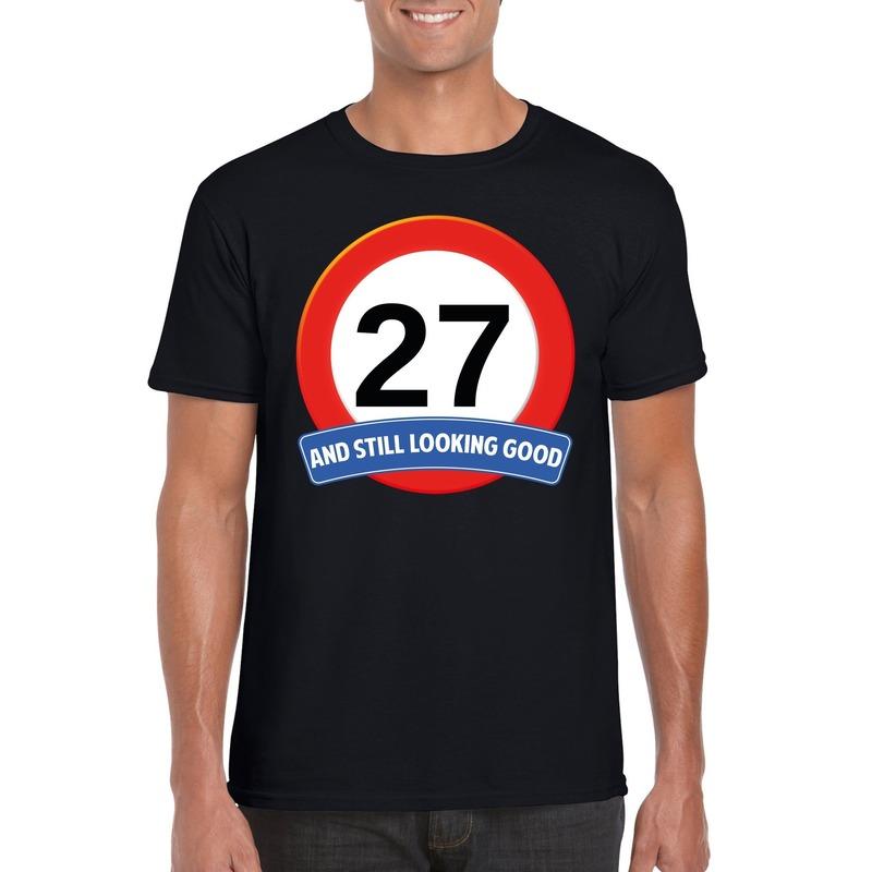 Afbeelding van 27 jaar verkeersbord t-shirt zwart heren