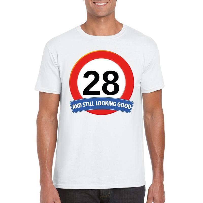 Afbeelding van 28 jaar verkeersbord t-shirt wit heren