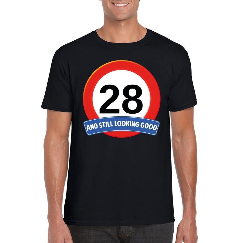 Afbeelding van 28 jaar verkeersbord t-shirt zwart heren