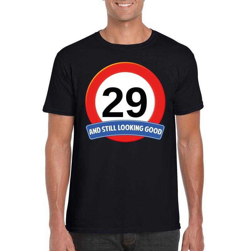 Afbeelding van 29 jaar verkeersbord t-shirt zwart heren