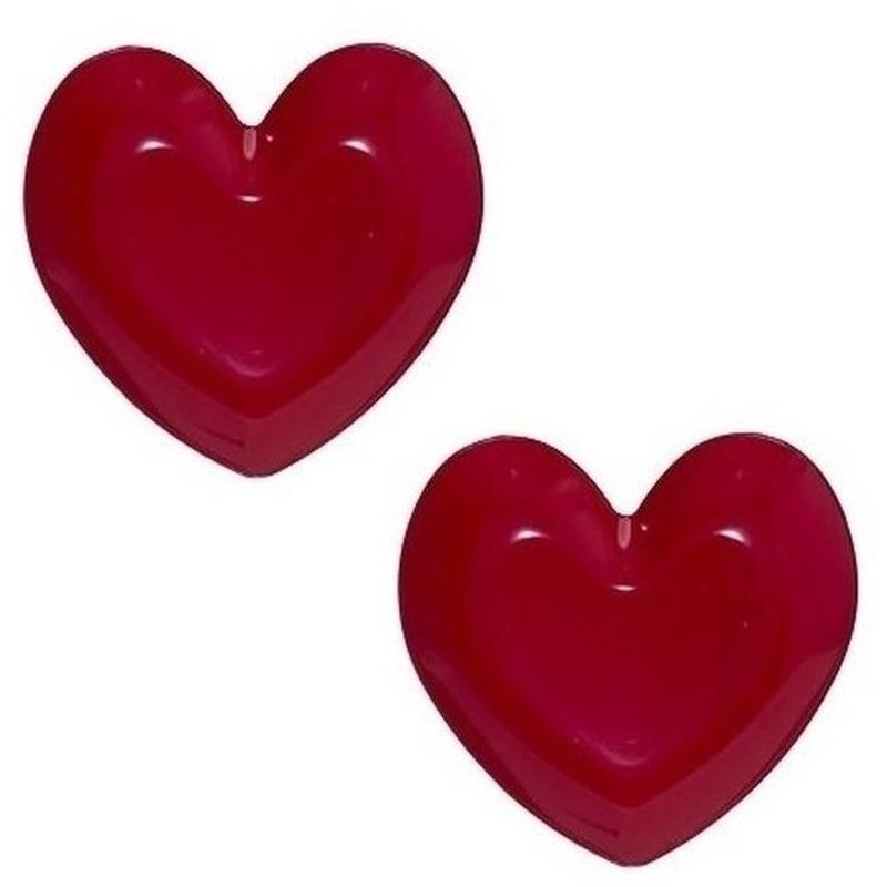 2x Borden-schalen hartvormig rood 25 cm kunststof-plastic