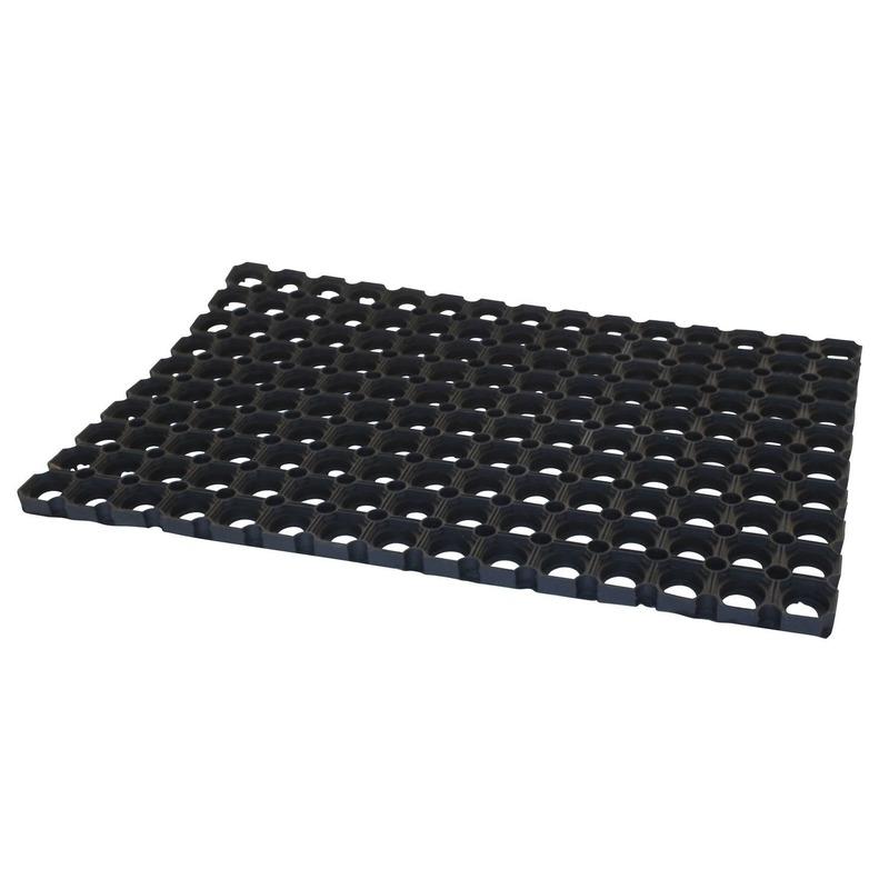 2x Buitenmatten-deurmatten rubber zwart 60 x 40 x 2.3 cm