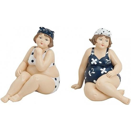 Afbeelding van 2x Decoratie dikke dames beeldjes 12 cm in bikini en badpak