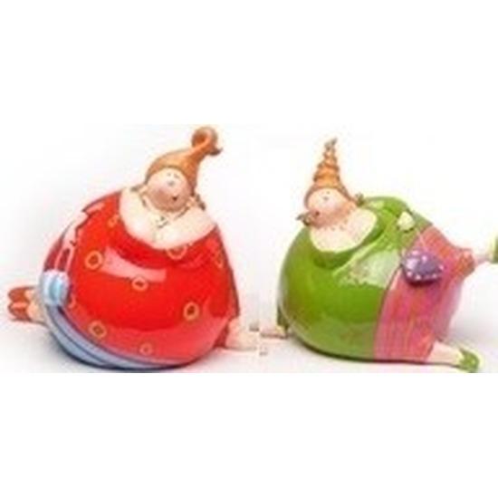 Afbeelding van 2x Decoratie liggende dikke dames beeldjes 10 cm in gekleurde kleding