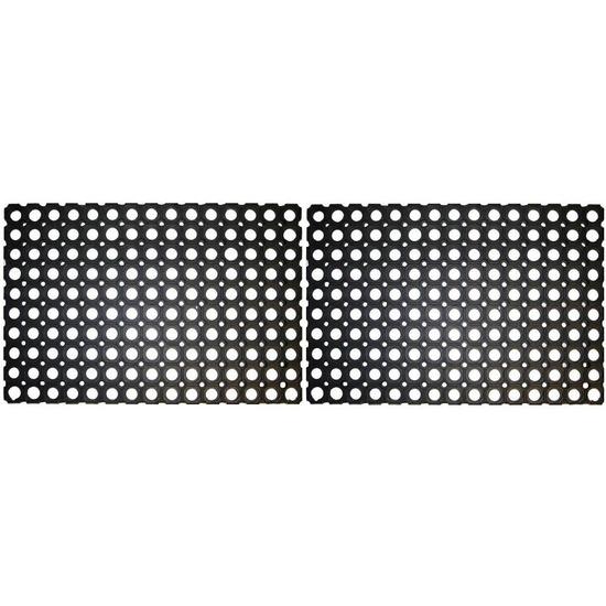 2x Deurmatten-buitenmatten rubber 60 x 40 cm