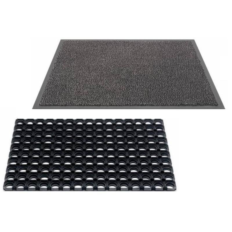 2x Droogloopmatten en buitenmatten rubber 60 x 40 cm