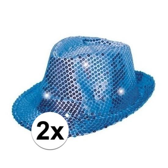 2x Glitter hoeden blauw met LED verlichting