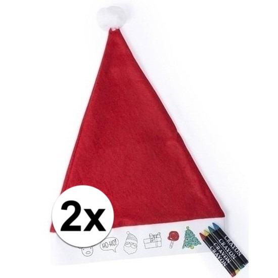 Afbeelding van 2x Hobby Kerstmutsen inkleurbaar met waskrijtjes voor jongens/meisjes/kinderen