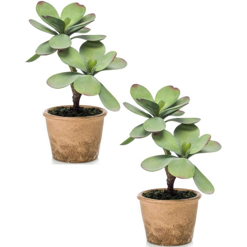 2x Kalanchoe vetplanten kunstplanten 34 cm in bruine plantenpot