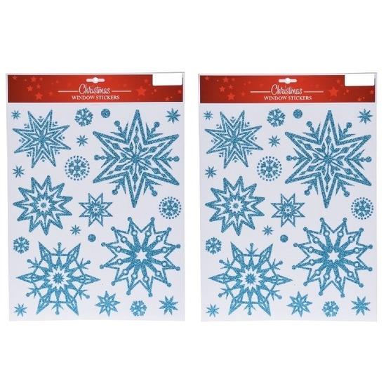2x Kerst decoratie stickers blauwe glitter ijssterren plaatjes 30 x 40 cm
