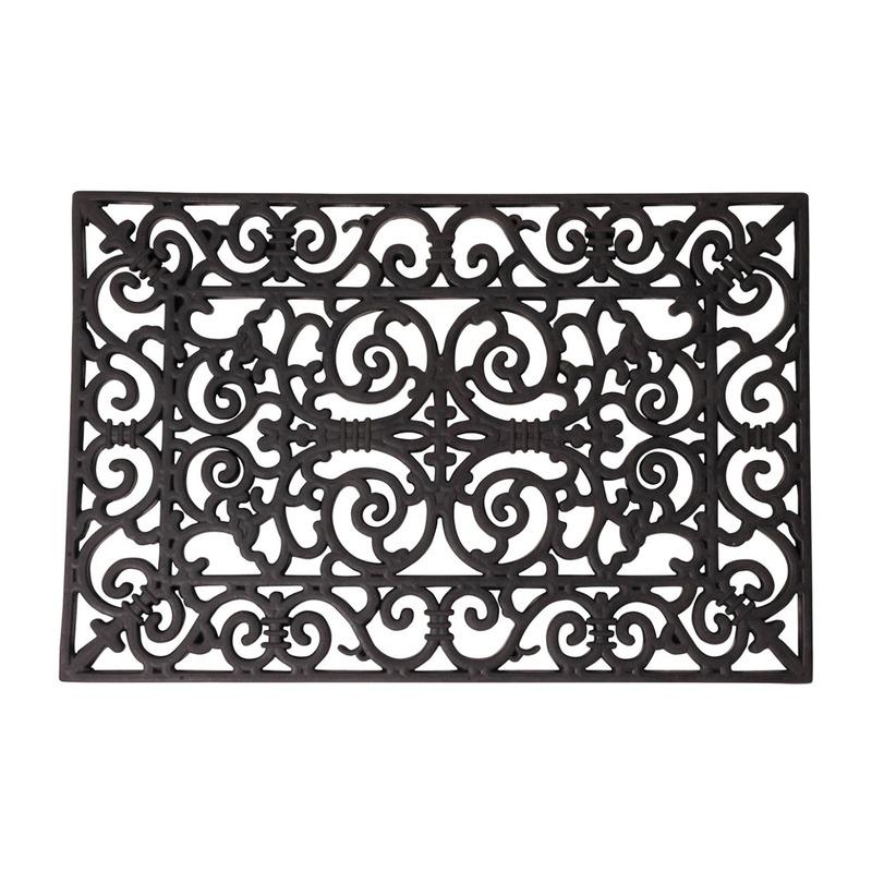 2x Klassieke print deurmatten rubber 70 x 40 cm