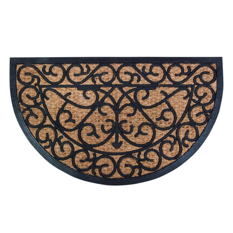 2x Klassieke print halfronde deurmatten rubber-kokos 75 x 45 cm