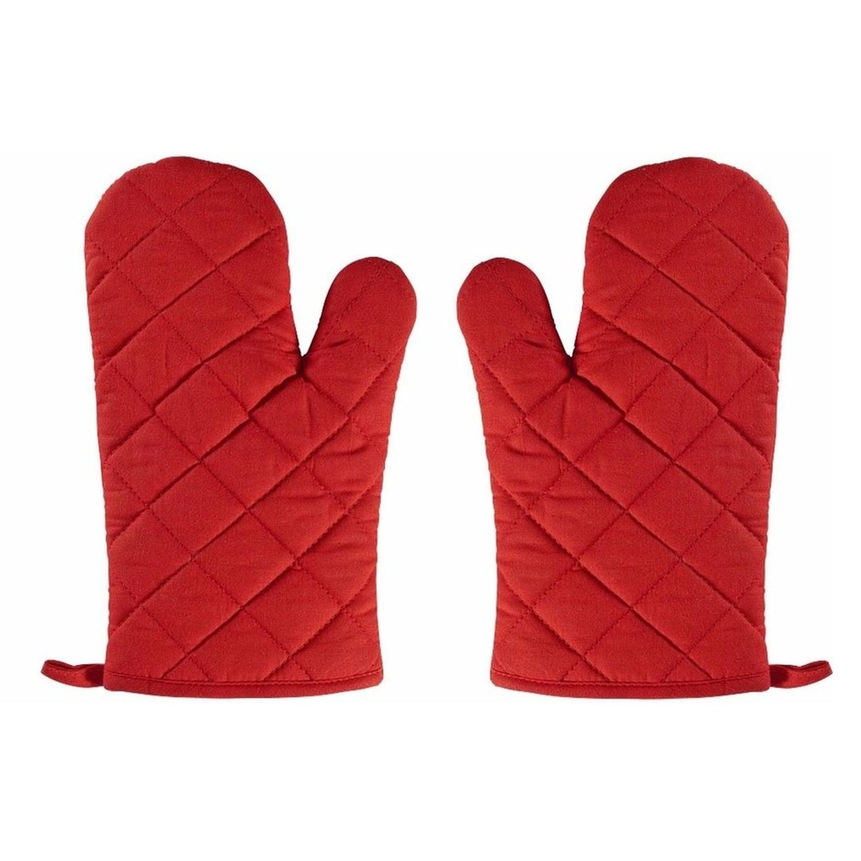 2x Ovenwanten-ovenhandschoenen rood voor volwassenen