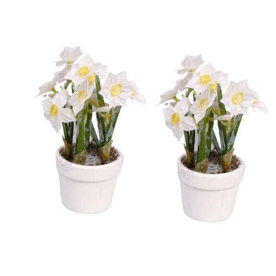 2x stuks decoratie kunstbloemen narcissen in bloempot