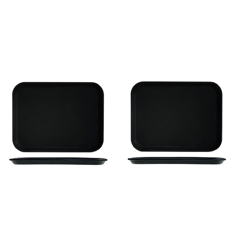 2x Zwart dienblad-serveerblad 30 x 41 cm kunststof