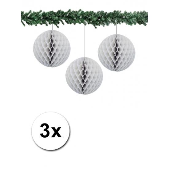 3 grijze papieren kerstballen 10 cm