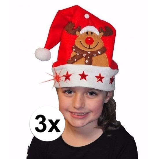 Afbeelding van 3 kerstmutsen met licht en versiering voor kinderen