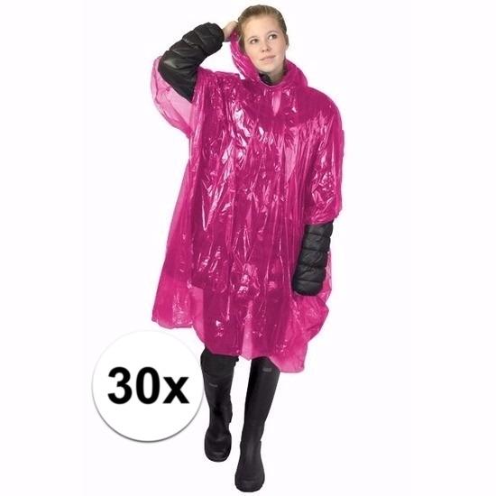 30x roze noodponcho doorschijnend
