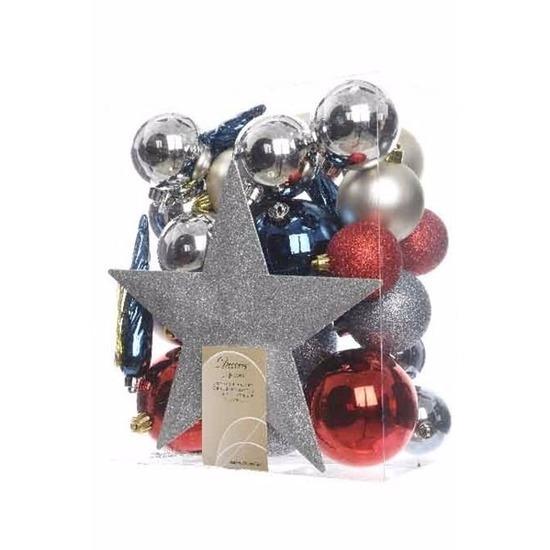 33-delige kerstballen set zilver-rood-blauw