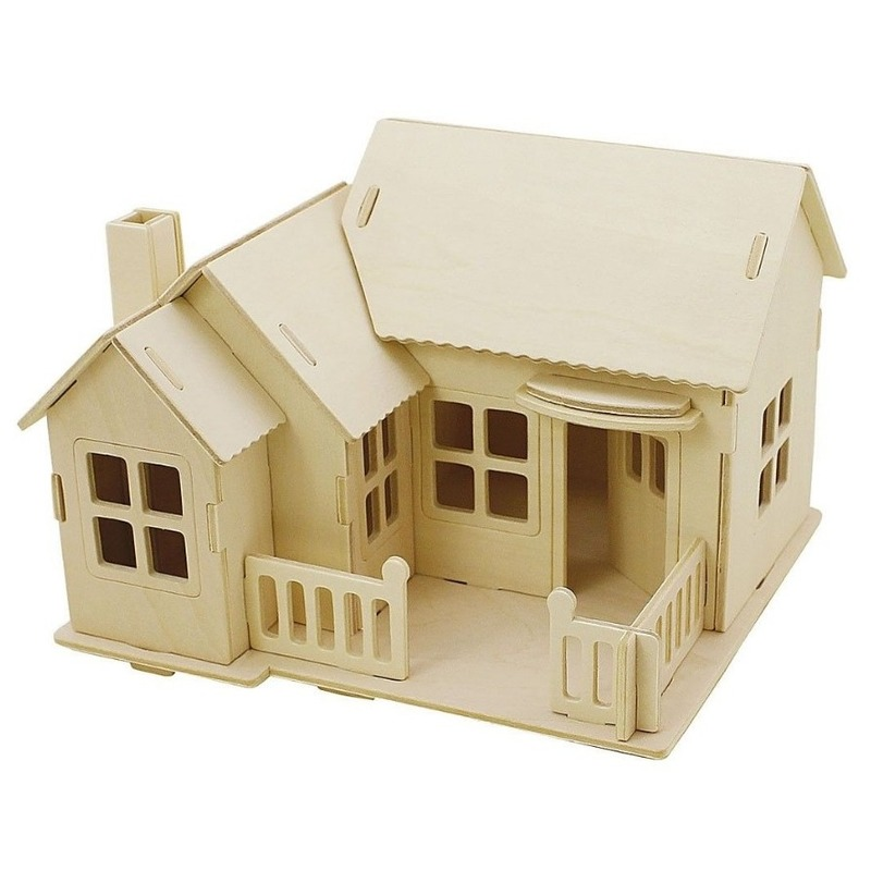 3D houten huis met terras constructie set