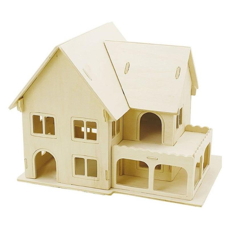 3D houten huis met veranda constructie set