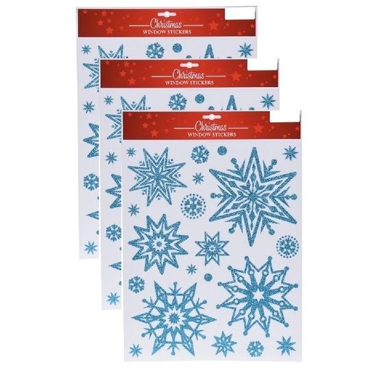 3x Kerst decoratie stickers blauwe glitter ijssterren plaatjes 30 x 40 cm