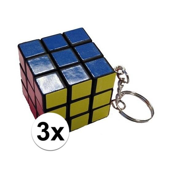 3x Kubus puzzels sleutelhangers