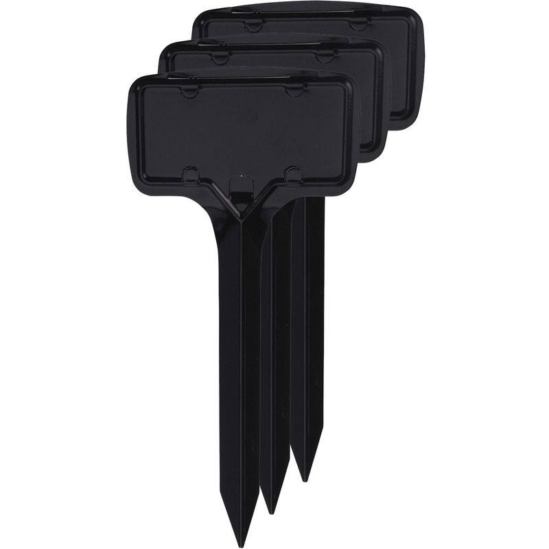 3x Kweekkast steeketiketten 18 cm zwart