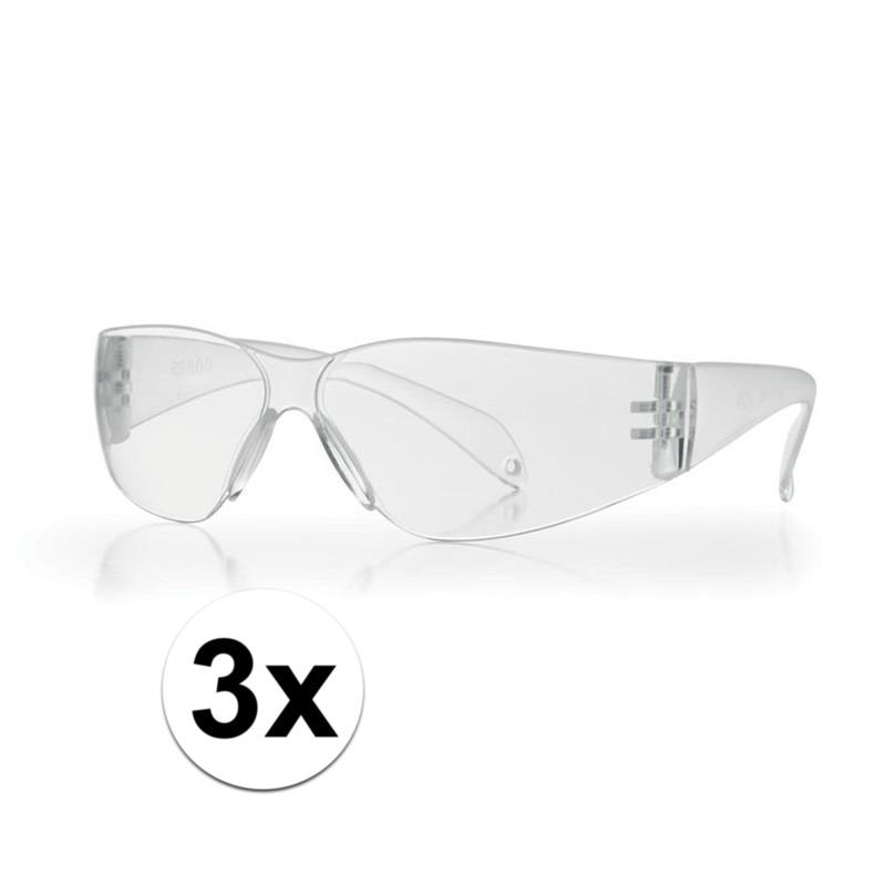 Afbeelding van 3x Veiligheidsbril transparant voor kinderen