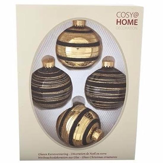 4-delige kerstballen set zwart-goud van glas