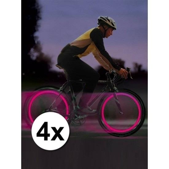 4x Roze fietslampjes set voor fietsventiel