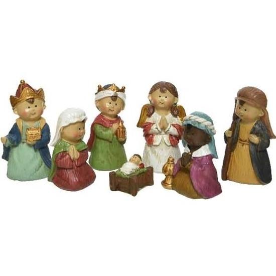 7x Kerststal kerstfiguren voor kids
