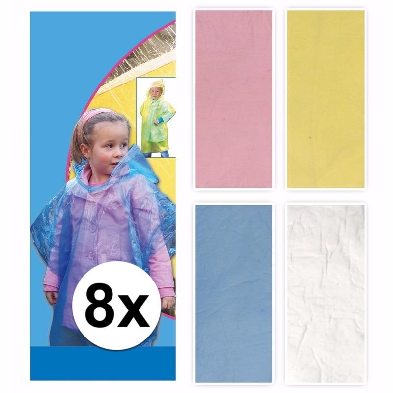 Afbeelding van 8 x regenponcho voor kinderen