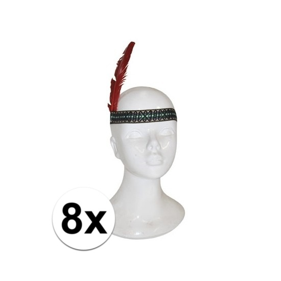 Afbeelding van 8x Indianen hoofdband met veer kinderen