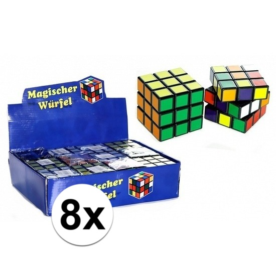 8x uitdeel speelgoed puzzel kubussen 7 cm