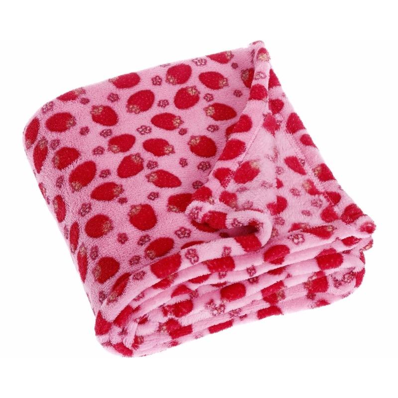 Afbeelding van Aardbeien fleece plaid voor kinderen