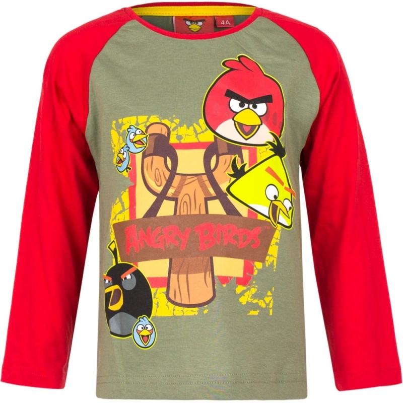 Angry Birds shirt lange mouw groen/rood voor jongens