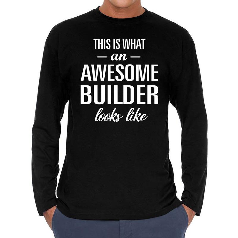 Awesome Builder-bouwvakkeren cadeau shirt zwart voor heren