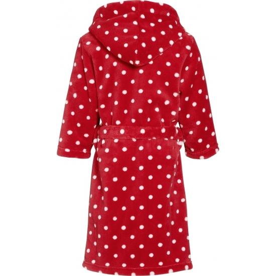 Badjas rood met witte stippen voor kinderen