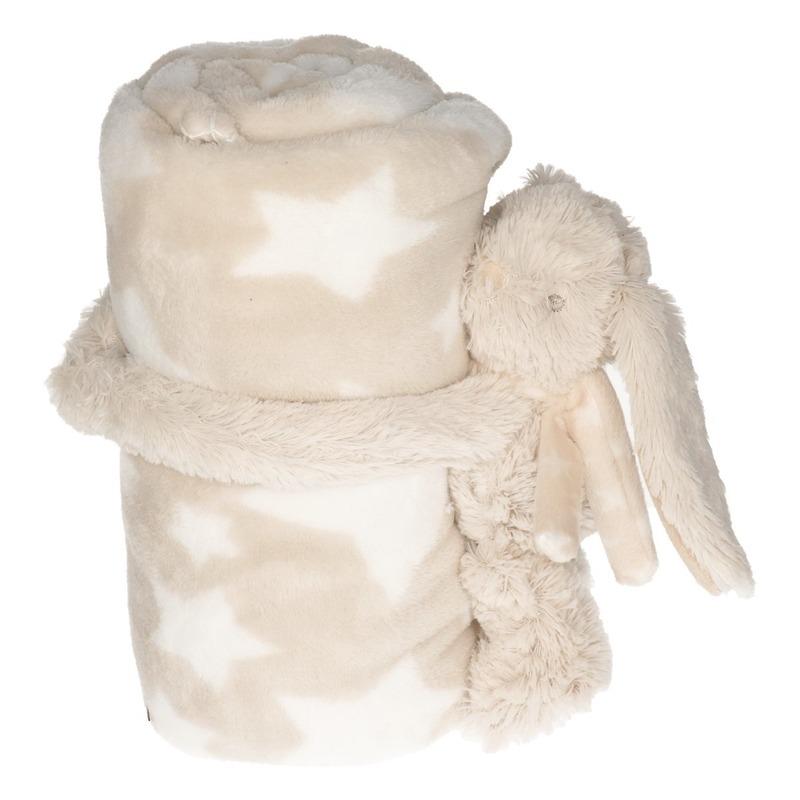 Beige-witte sterrenprint deken 100 x 75 cm met klittenband konijn-haas knuffel