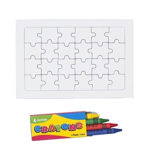 Blanco puzzel met krijtjes 24 stukjes