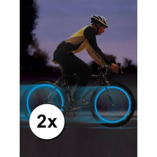 Blauwe fietslampjes set voor fietsventiel
