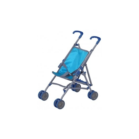 Blauwe speelgoed buggy voor poppen