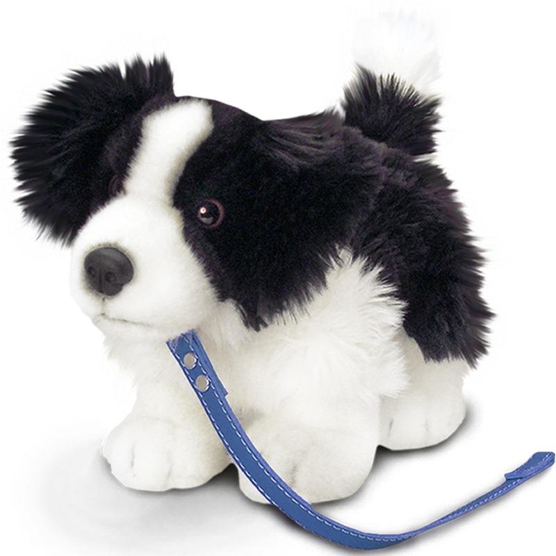 Border Collie-schaapsherder honden knuffeldier 30 cm met hondenriem