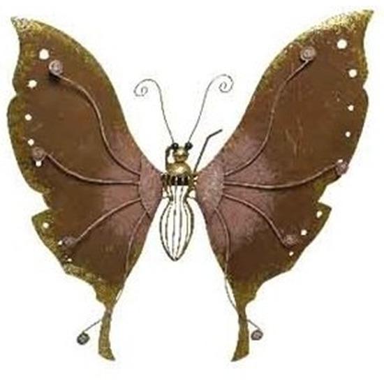 Brons-roze tuindecoratie vlinder 36 cm