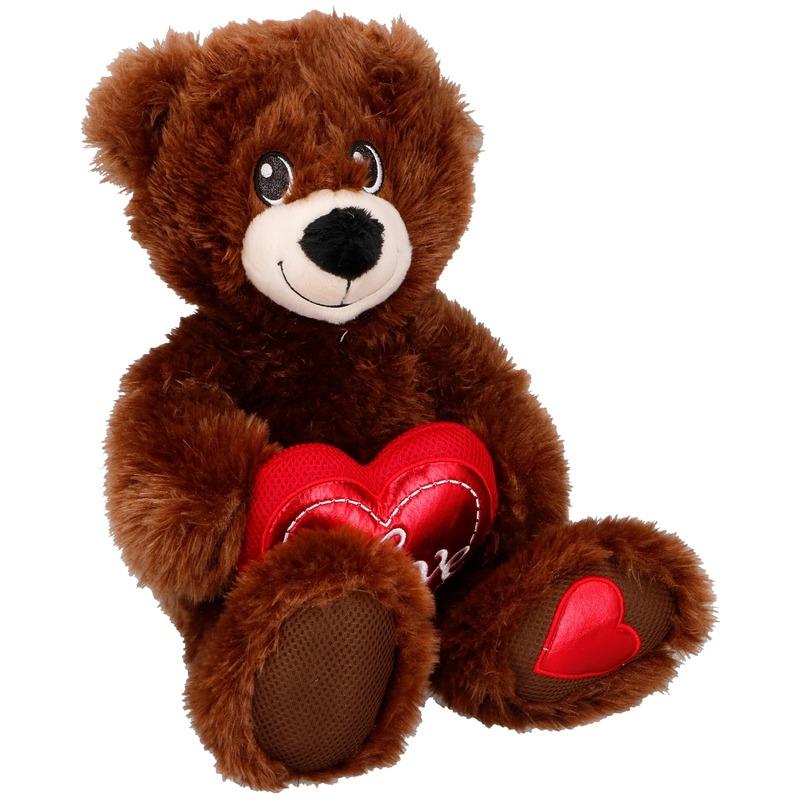 Bruine knuffelberen knuffels met hartje 33 cm knuffeldieren