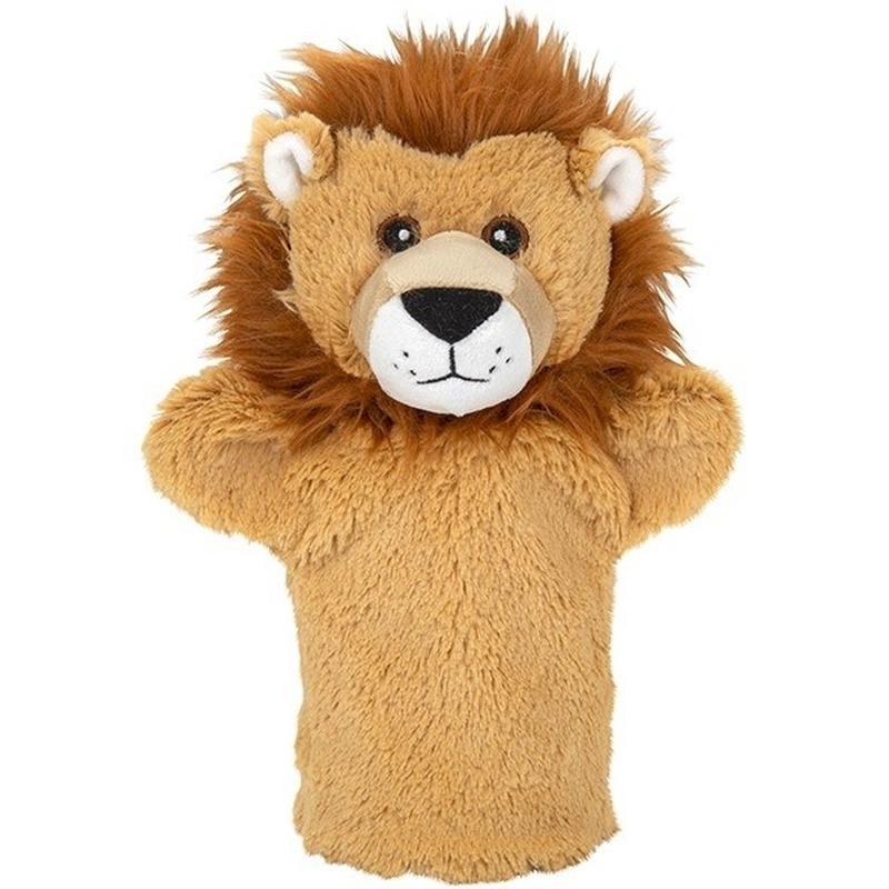 Bruine leeuwen handpoppen knuffels 24 cm knuffeldieren