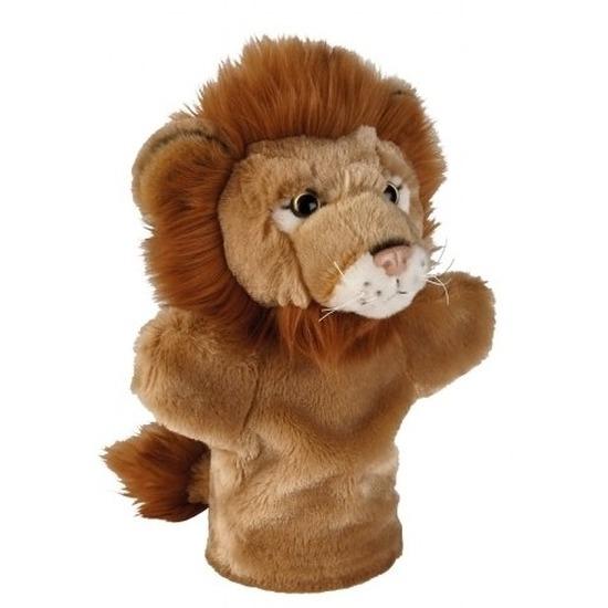 Bruine leeuwen handpoppen knuffels 26 cm knuffeldieren