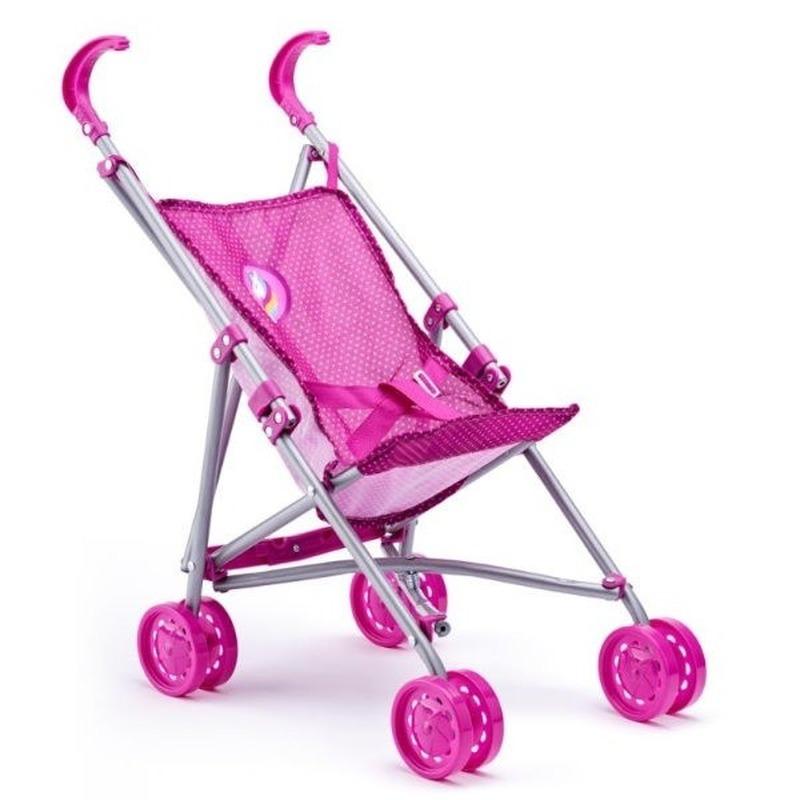 Buggy voor poppen roze met eenhoorn en vlinders