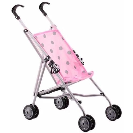 Buggy voor poppen roze met stippen